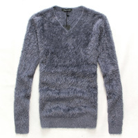 2013 autumn and winter the trend men's clothing casual long-sleeve V-neck flock printing t-shirt personality plus wool basic
