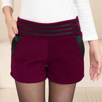 2013 autumn mid waist plus size woolen shorts female autumn and winter Wine red shorts slim boot cut jeans