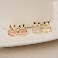 Japanese and Korean style new arrival 2013 Fashion Jewelry moonstone rabbit stud earring fashion vintage - eye earrings