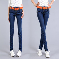 Free Shipping Light Blue Jeans Ankle Length Trousers Skinny Pants Pencil All-match Elastic Capris Pants