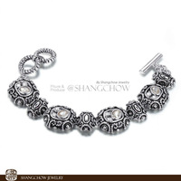 New! Stunning Fashion Jewelry 4 PCS Morganite Quartz 925 Sterling Silver Bracelet B0037