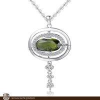 New Stunning Fashion Jewelry Sets Peridot 925 Sterling Silver Filled 18K Platinum Pendant P0373