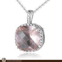New! Stunning Fashion Jewelry Sets Morganite Quartz 925 Sterling Silver Filled 18K White Gold Lady Pendant P0207
