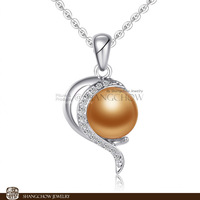 New Stunning Fashion Jewelry Sets Golden Pearl 925 Sterling Silver Filled 18K Platinum Lady Pendant P0380