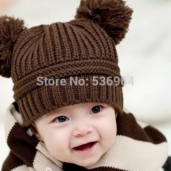 Sofiya Winter baby hat Fashion Korean Flash Drill Baby Hat Love Dual Ball Knitted Girls/Boys Wool Cap 5 colors free shipping(China (Mainland))