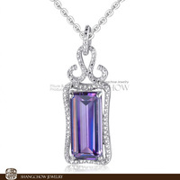 Stunning in Fashion Jewelry Sets Amethyst Quartz 925 Sterling Silver Filled 18K Platinum Lady Pendant P0368