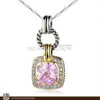 New Stunning Fashion Jewelry Fashion Jewelry Sets Pink Kunzite Quartz 925 Sterling Silver Filled 18K Platinum Lady Pendant P0384
