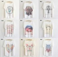 [Magic] 80 hot models! Batwing sleeve plus size women cotton t-shirt  good printed tees thin loose t shirts women free shipping