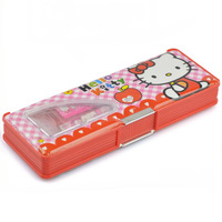 Freeshipping 8 sets/lot, Wholesale Hello kitty stationery sets Double face design pencil box set (6IN1) Children school supplies