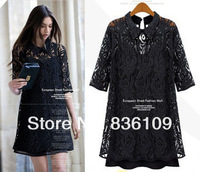 Free Shipping 2013 European 4XL Plus Size Women's Summer Dresses Lace Loose Two Piece Skirt Suit 1275