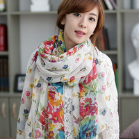 170CM * 108CM Garden Floral + Big Flower Oversized Rectangular Cotton scarf
