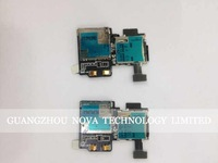 Original New For Samsung Galaxy S4 gt I9505 Sim Card Reader Holder with Memory Socket Flex Cable Replacement; HK Free 10pcs/lot