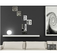 Home decoration modern design!Mirror effect maze wall stickers,3D interior ornamentation living room,Free shipping!F85