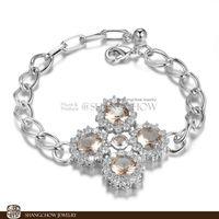 New! Stunning Fashion Jewelry 5 PCS Morganite 925 Sterling Silver Bracelet B0053