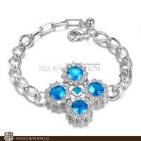 New! Stunning Fashion Jewelry 5 PCS Blue Topaz 925 Sterling Silver Bracelet B0052