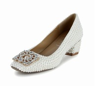 Free shipping wedding shoes plus size Pearl square buckle shoes thick with women's shoes women pumps