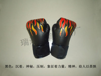 Flame boxing gloves sanda gloves one piece liner gloves flame genuine leather boxing gloves