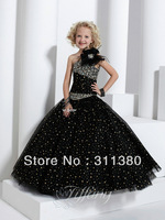 With Gift!!  black one shoulder handmade sequined   Pageant Girl's Party infant toddler prom Princess Flower Girl Dresses Gowns