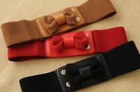 2013 New Fashion queer decoration cummerbund bow knitted ultra wide elastic waist belt women's