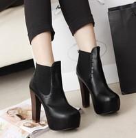 Vivi vintage carved high-heeled ankle-length thick heel martin boots 490