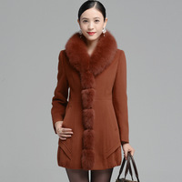 2013 winter high quality Cashmere overcoat ultralarge fox fur woolen overcoat outerwear CH511