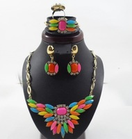 Free Shipping Russian Jewelry Colorful Rhinestone Flower Necklace for Women 18K Gold Plated italian Luxury Party Jewelry Sets