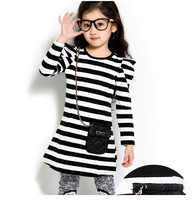 Free Shipping New Arrive Healthy Black&White Stripe Girls Blouse Kids Clothing Childrens Clothes 100%Cotton Blouse T shirts