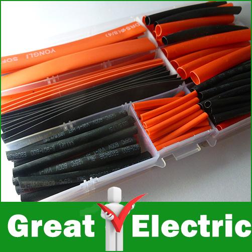 150 PCS 8 tailles 2 couleur chaleur gaine thermorétractable Tube Kit Transparent boîte en plastique, Gaines livraison gratuite # CGKCH008(China (Mainland))