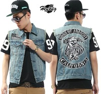 Exclusive  vintage Skeleton  rock style denim vest M-09