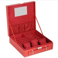 Hot item, The latest Simple design suitcase for jewelry jewellery box case 2 layers