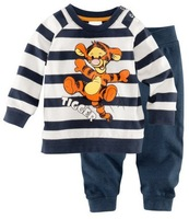 Retail Baby Long sleeves cotton pajamas/pyjamas baby sleepwear tiger kid's sleeping wear boy's clothing sets size 2Y-7Y