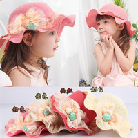 Girl Fashion beautiful Lovely Children Three Roses Waves Straw Hat 1pc Lace Flower Beach Hat Children Hat Free Shipping CL01497