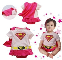 Retail Free Shipping 2013 New Arrive Baby Little SuperMAN and Supe GIRL Rompe baby Bodysuit Baby Clothing Baby Outfits C006