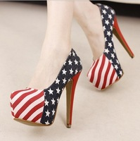 Free shipping Pumps women american flag pumps ultra high heels shoes low color block decoration plus size 43  high heels shoes