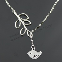 NewMe Boutique - HOT SELL!!! Fashion bird and branch pendant necklace, 22cm and 22+5cm extension chain (N10164)