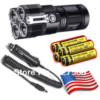 Hot New release Nitecore TM26 3500 Lumen LED Flashlight w/3100mAh Batteries Home+Car Charger+Nitecore Charger for I4