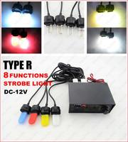 Type R 8 Function adjustable Warning Strobe light 12V/30W Multi-color cover 704-4U GGG