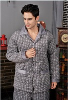 Winter long-sleeve male cotton-padded super soft sleepwear thickening coral fleece sleep set male quality lounge