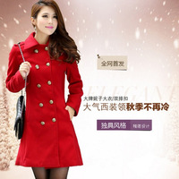 2013 women's slim fur collar cloak woolen overcoat medium-long woolen outerwear
