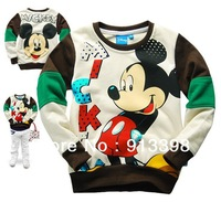 New 2013 Hot sale Rice white Mickey Mouse cartoon printed cotton fleece round neck long sleeve  6pcs/lot free shipping