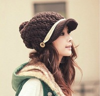 2013 autumn and winter handmade women's knitted hat knitted hat monochoria knitting wool cap winter hat