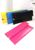 100% Genuine Leather Wallet  Vertical Women Long Purse Hot Seller New style Candy Color Metal Small Clutch Wallet  Free Shipping