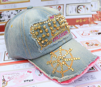 Fashion bling rhinestone rivet cap casual all-match cowboy hat diamond baseball cap sunbonnet