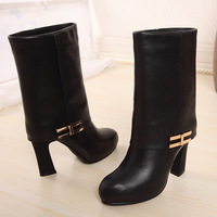 Classic tube first layer of cowhide high-heeled platform full genuine leather female boots dx68-a1 medium-leg