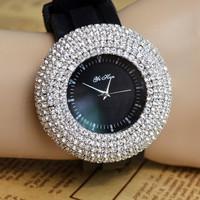 2015 new crystal Rhinestone big dial fashion watches silicone strap Women Dress watch wristwatches