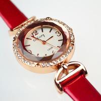 (Minimum order $ 10) 2014 new rose gold Rhinestone Dress Wrist watch fashion lady red / black watches wholesale free shipping