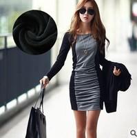 New 2014 !!! Dresses women temperament long sleeve corrugation  render new style dress S/M/L/XL Free Shipping