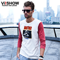 Autumn new arrival viishow long-sleeve T-shirt male fashion slim color block decoration o-neck print Men long-sleeve T-shirt
