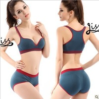 Sexy Young Seamless one piece plunge No Wire ultra-comfortable elastic sports bra panty set