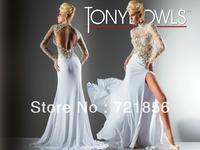 Bk-07 New Arrival Sexy Long Sleeve Open Back Beads Crystal Tony Bowls Evening Dress 2014